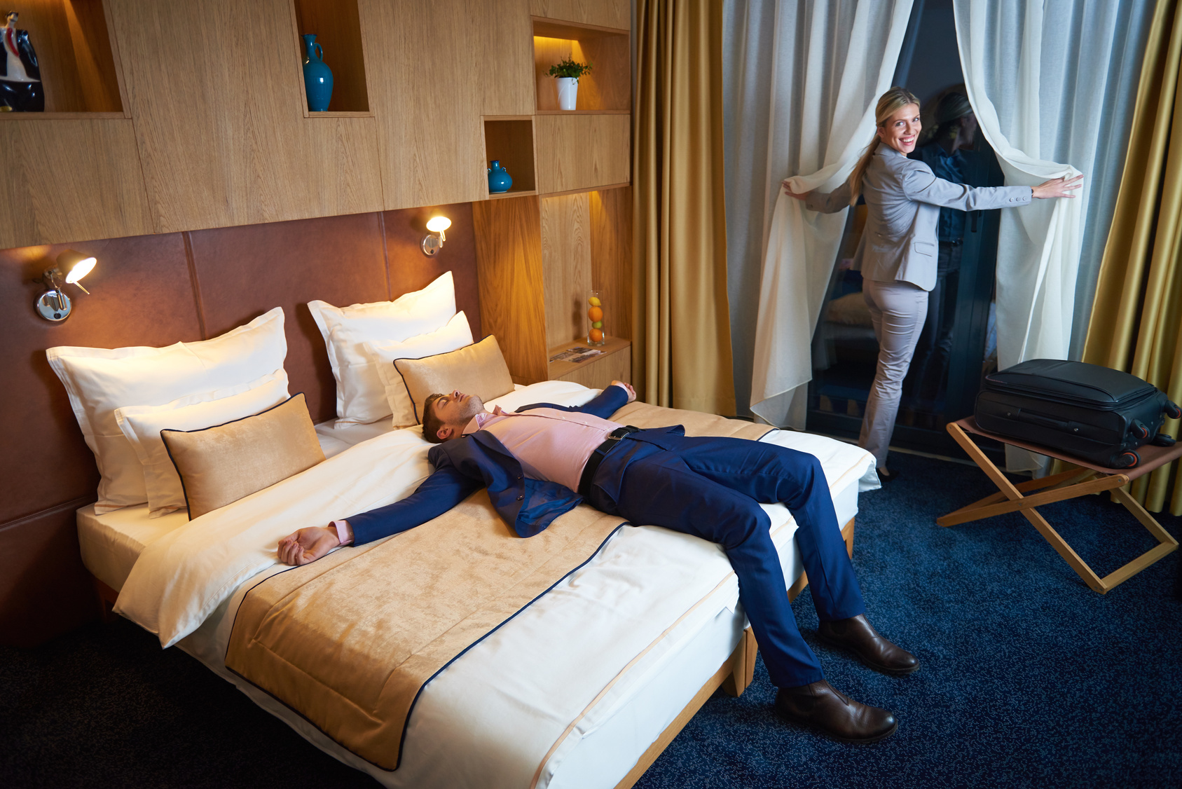 young couple in modern hotel room